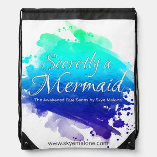 Secretly a Mermaid Drawstring Backpack - Blue