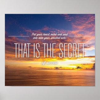 Secreto del éxito - cita de motivación poster