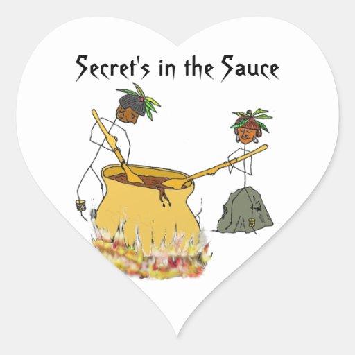 Secreto en la figura cocineros del Salsa-Palillo Calcomanía De Corazón Personalizadas