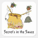 Secreto en la figura cocineros del Salsa-Palillo Calcomania Cuadradas