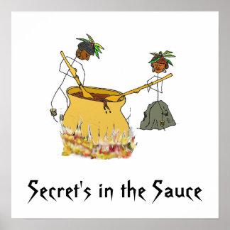Secreto en la figura cocineros del Salsa-Palillo Póster