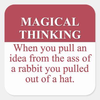 Secretos de (3) de pensamiento mágico pegatina cuadrada