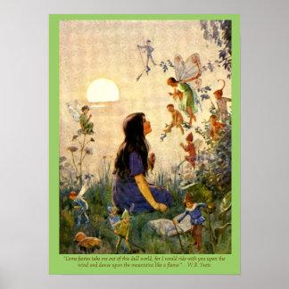 Secretos de hadas y impresión del vintage de la ci póster