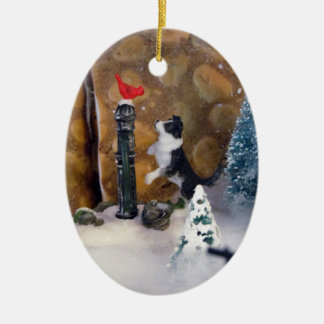 Secretos del navidad adorno ovalado de cerámica