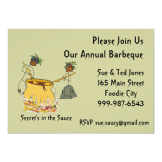 Secret's in the Sauce-Stick Figure Chefs BBQ 5x7 Paper Invitation Card