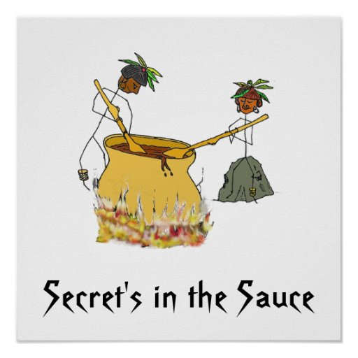 Secret's in the Sauce-Stick Figure Chefs Poster