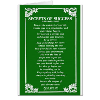 SECRETS OF SUCCESS By BERNARD LEVINE Greeting Card