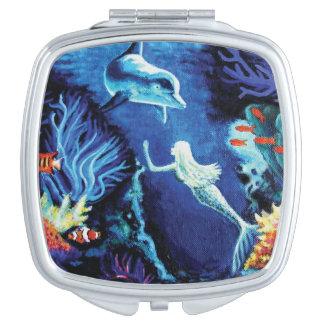 Secrets Of The Coral Reef - Mermaid & Dolphin Art Vanity Mirror
