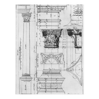 Section and elevation of a composite column postcard