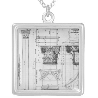 Section and elevation of a composite column silver plated necklace
