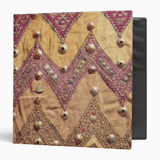 Section of embroidered fabric with gold plaques 3 ring binder