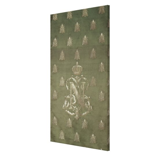 Section of green and gold damask canvas print