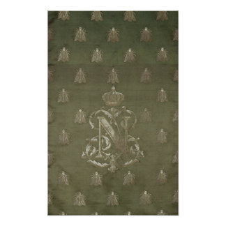 Section of green and gold damask print