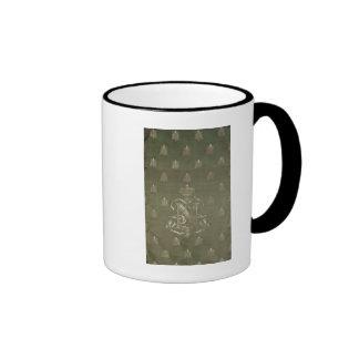 Section of green and gold damask ringer mug