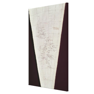 Section of Map from Ross Island to South Pole Gallery Wrap Canvas