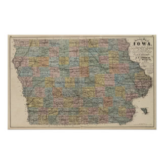 Sectional map of Iowa Poster