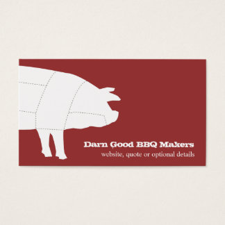 Sectioned BBQ Pig Red Business Card