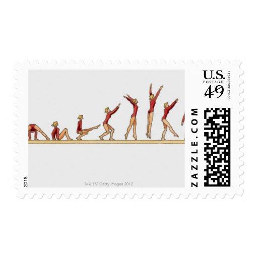 Secuencia de ejemplos que muestran a la hembra sello postal
