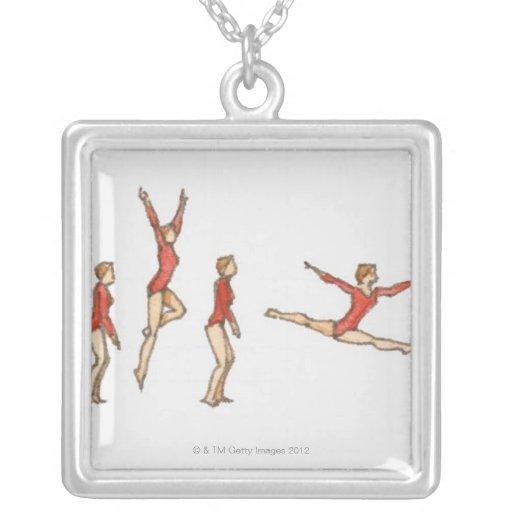 Secuencia de ejemplos que muestran al gimnasta de colgante cuadrado