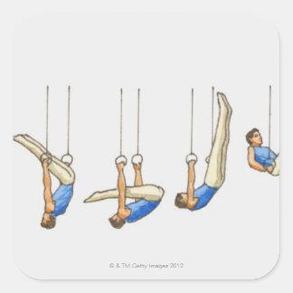 Secuencia de ejemplos que muestran al gimnasta de pegatina cuadrada