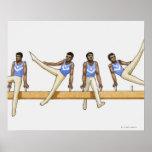 Secuencia de ejemplos que muestran al gimnasta de póster