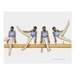 Secuencia de ejemplos que muestran al gimnasta de tarjeta postal