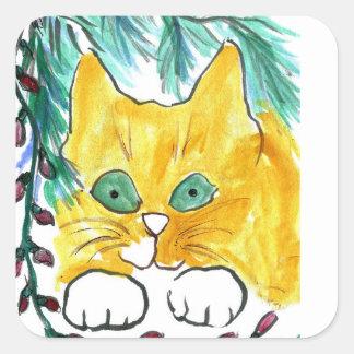 Secuencia de la luz de navidad y el gato calcomanías cuadradas personalizadas
