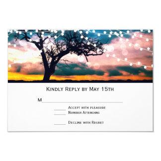"""Secuencia de la puesta del sol del árbol de las invitación 3.5"""" x 5"""""""