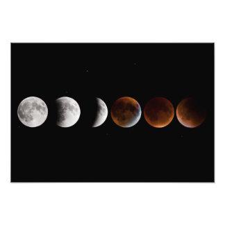 Secuencia del eclipse lunar fotografías
