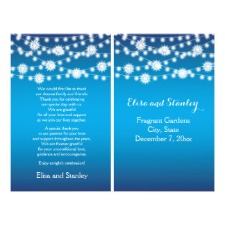 Secuencia del programa azul del boda de los copos folleto 21,6 x 28 cm