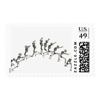 Secuencia que ilustra un salto esquelético humano envio