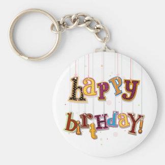 Secuencias del cumpleaños llavero redondo tipo pin