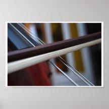 Secuencias y arco macros del violoncelo póster