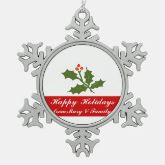 Secular Green Holly Branch and Berries Holiday Snowflake Pewter Christmas Ornament