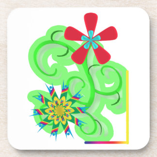 Secular Humanist & Atheist Symbol Flowers Beverage Coaster