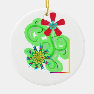 Secular Humanist & Atheist Symbol Flowers Ceramic Ornament