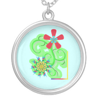 Secular Humanist & Atheist Symbol Flowers Silver Plated Necklace