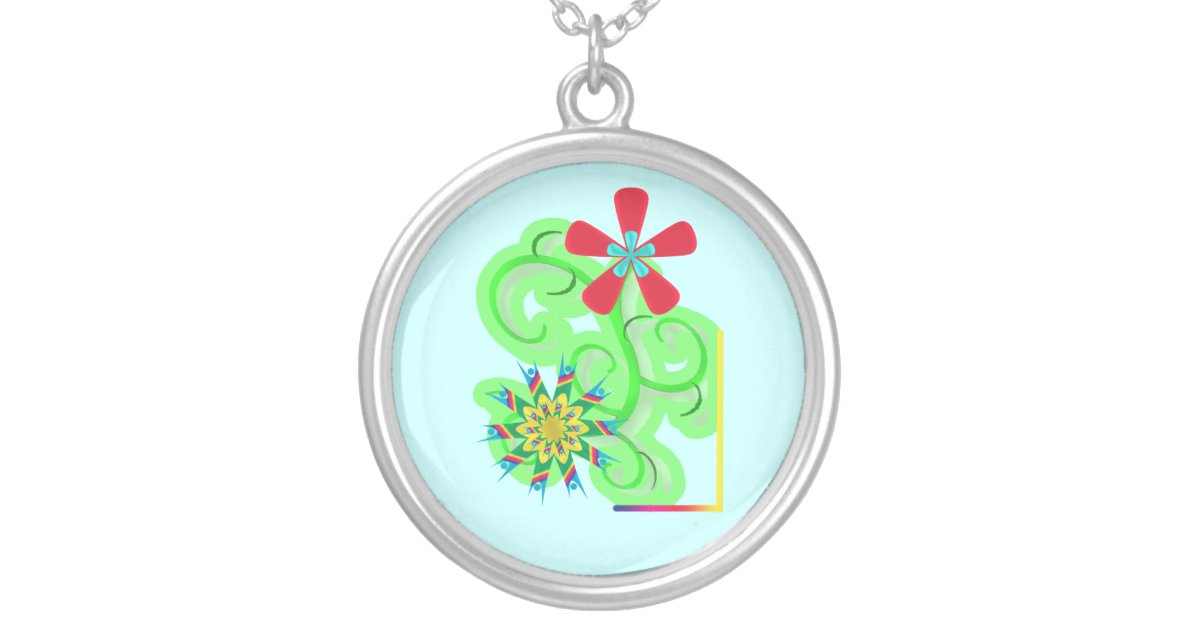 Secular Humanist Atheist Symbol Flowers Silver Plated Necklace