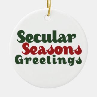 Secular Seasons Greetings Ceramic Ornament