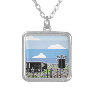 Secure Facility Prison Camp Silver Plated Necklace