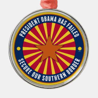 Secure Our Southern Border Round Metal Christmas Ornament