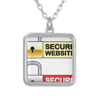 Secure Website Symbol Icon Silver Plated Necklace