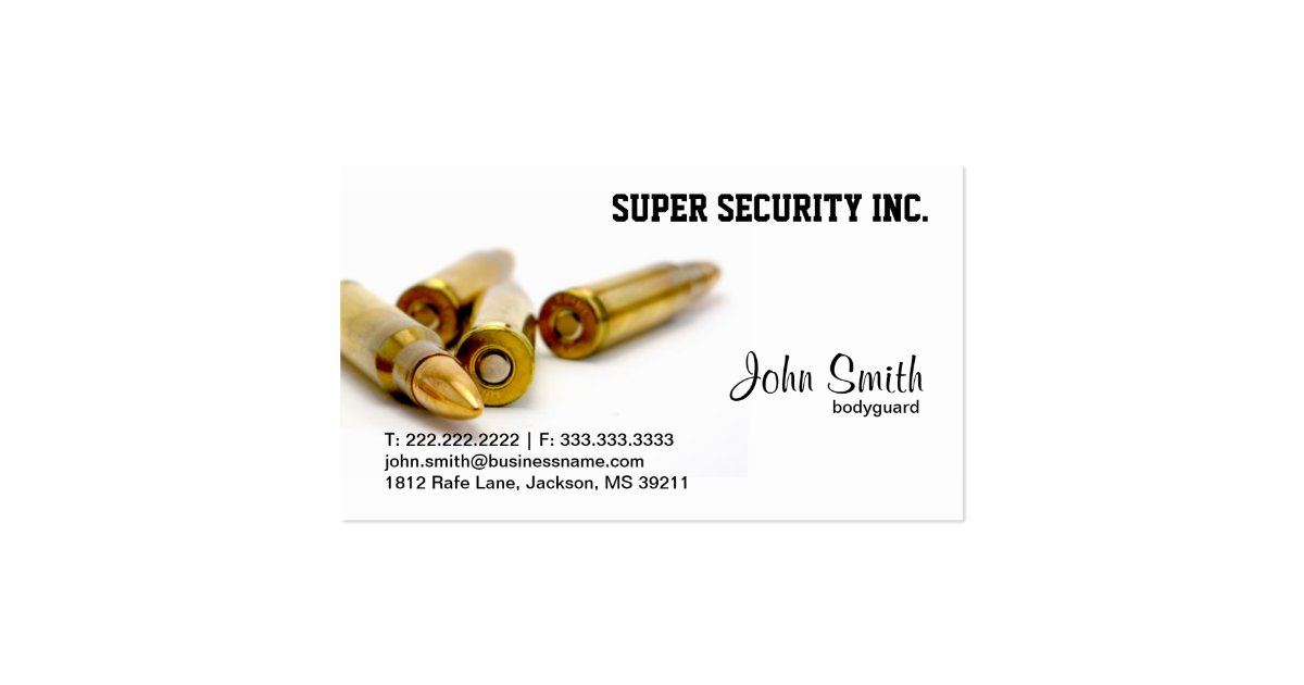 Security bodyguard bullets business card zazzle for Bodyguard business cards
