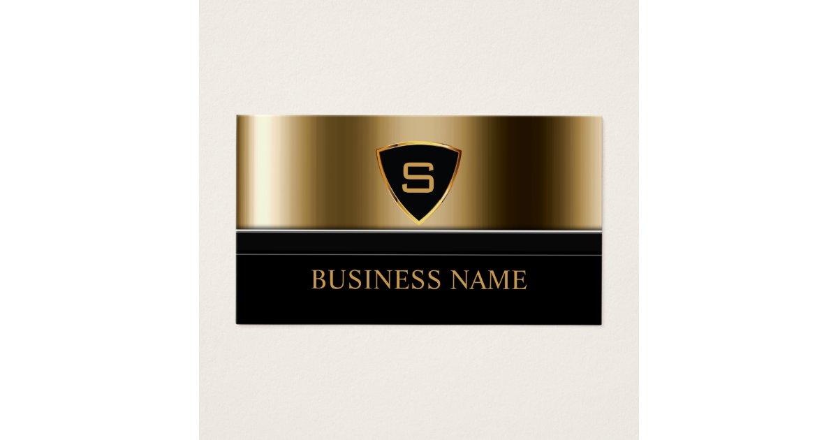 Security Bodyguard Gold Shield Monogram Modern Business Card ...