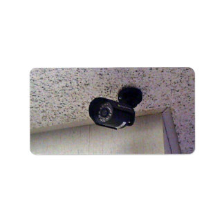 Security camera personalized address label
