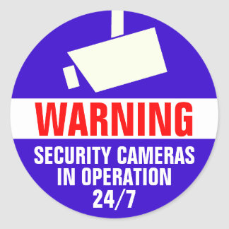 Security Camera Round Warning Sticker