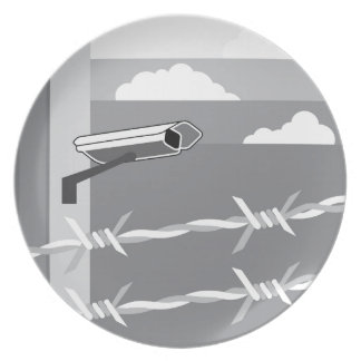 Security Camera. Secure Facility. Melamine Plate