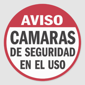 Security Cameras in Use Aviso in Spanish Classic Round Sticker