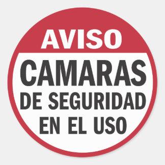 Security Cameras in Use Aviso in Spanish Sticker