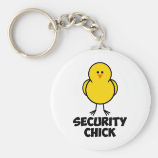 Security Chick Basic Round Button Keychain